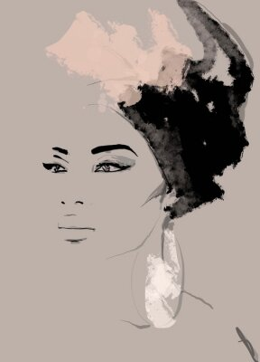 Wall mural African American illustration for fashion banner. Trendy woman model background. Afro hair style girl