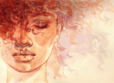 Wall mural african american woman. illustration. watercolor painting