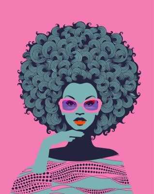 Wall mural Afro American woman art portrait with pink sunglasses. Mid century modern retro style. Eps10 vector