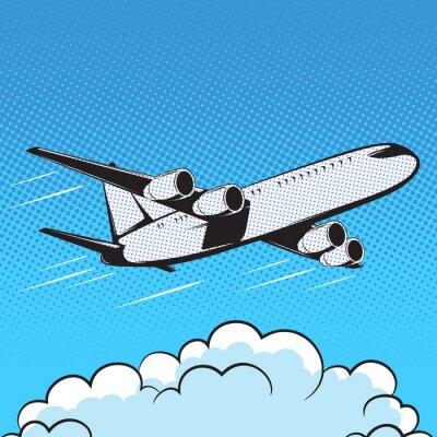 Wall mural aircraft retro style pop art air