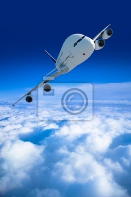 airliner and above the clouds