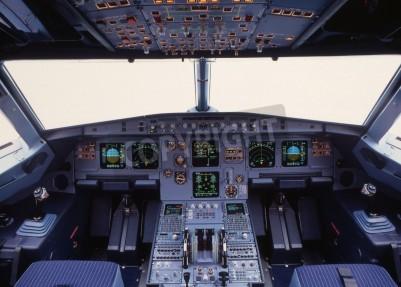 Wall mural airplane cockpit of a modern passenger jet