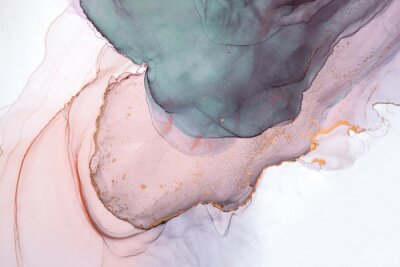 Wall mural Alcohol ink sea texture. Contemporary art. Abstract art background. Multicolored bright texture. Fragment of artwork. Modern art. Inspired by the sky, as well as steam and smoke. Trendy wallpaper.