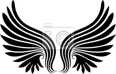Wall mural Ali -Wings Tattoo Stylized Tattoo Tatouage Ailes -Vector -