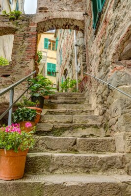 Wall mural Alley in Italian old town Liguria Italy