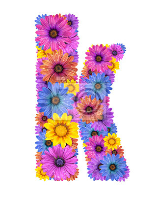 Alphabet from colorful dewy flowers