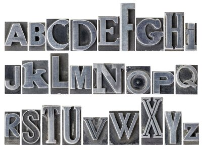 Wall mural alphabet in mixed metal type