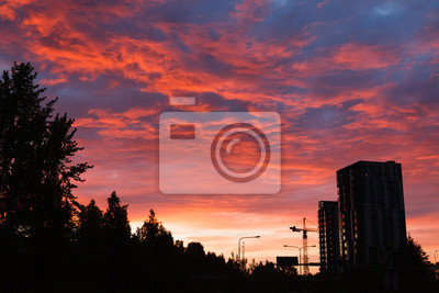 Amazing red sunset and buildings