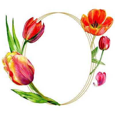 Wall mural Amazing red tulip flower with green leaf. Watercolor background illustration set. Frame border ornament round.