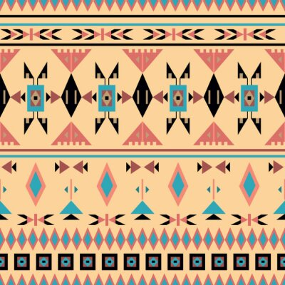 Wall mural American Indians, seamless pattern, vector illustration