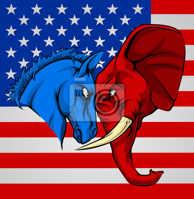 An Elephant and a Donkey  facing off against each other in front of an American Flag