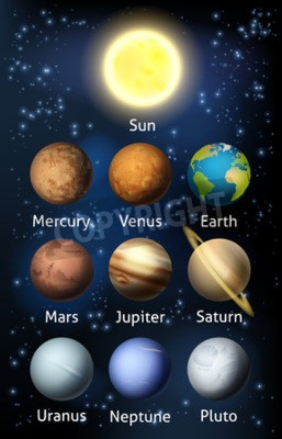 Wall mural An illustration of the planets of the solar system