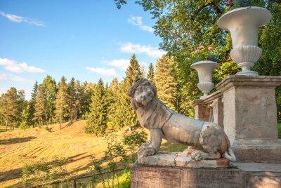 Ancient park sculpture depicting  lion