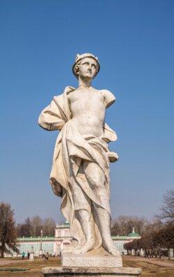 Ancient plaster copy of  ancient sculpture of Mercury (Hermes) in  park