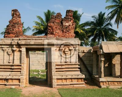 Ancient ruin stone building in hampi