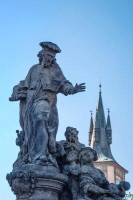 Ancient sculpture depicting Christian Catholic Saint Ivo