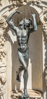 Ancient sculpture depicting god of trade Mercury (Hermes)