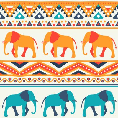 Wall mural Animal seamless vector pattern of elephant