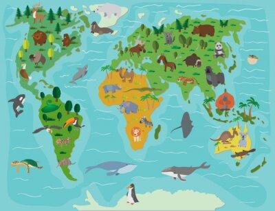 Wall mural Animal world. Funny cartoon map