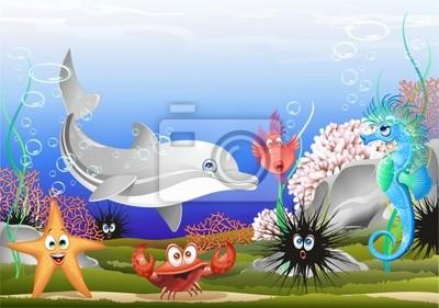 Wall mural Animali Mare Sfondo Marino-Sea Animals Background-Vector