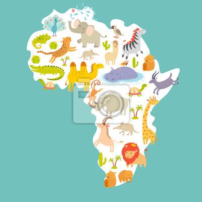 Animals World Map Africa Colorful Cartoon Vector Illustration Wall