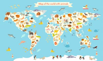 Wall mural Animals world map. Colorful cartoon vector illustration for children and kids. Preschool, education, baby, continents, oceans, drawn, Earth