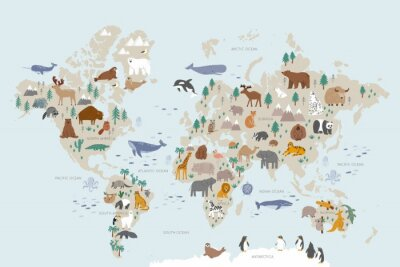 Wall mural Animals world map for kids. Poster with cute vector animals in flat style. Cartoon doodle characters in scandinavian style for children