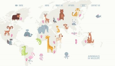 Wall mural Animals world map vector illustration. Landing page for children online educational platform. Cute cartoon animals in wildlife. Geography concept for kids. Fauna of different continents.