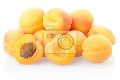 Wall mural Apricot fruit heap on white, clipping path included