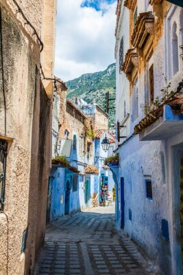Wall mural Architectural detail in Chefchaouen, Morocco, Africa
