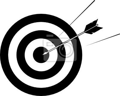 Arrow striking centre of target
