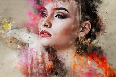 Wall mural Art colorful sketched beautiful abstract girl face portrait on colored background in Digital watercolour mixed media style word fashion style model