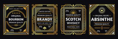 Wall mural Art deco alcohol label. Vintage bourbon scotch, retro brandy and absinthe labels vector illustration