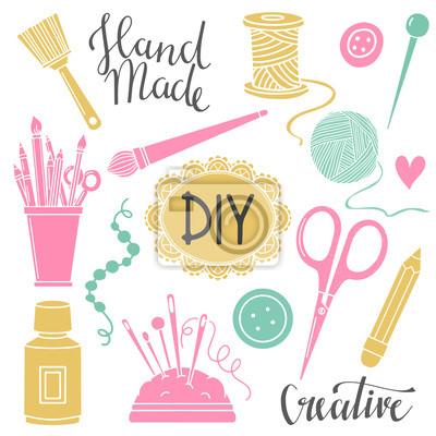 Wall mural Arts and crafts sewing, painting supplies, tools