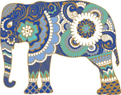 Wall mural Asian elephant with patterns