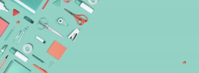 Wall mural Assorted office and school white orange and green stationery supply on pastel trendy background as knolling. Copy space. Flat lay for back to school or education and craft concept.