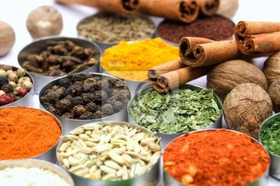 Assortment of various aromatic spices used for seasoning