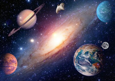 Wall mural Astrology astronomy earth moon outer space mars saturn solar system planet galaxy. Elements of this image furnished by NASA.