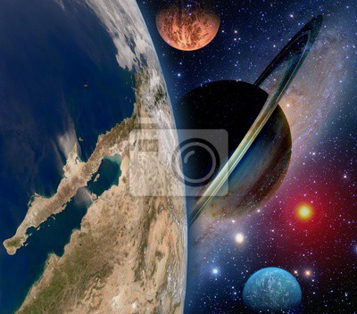 Wall mural Astrology astronomy earth space solar system creation saturn planet star galaxy. Elements of this image furnished by NASA.