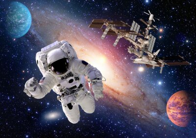 Wall mural Astronaut spaceman suit people planet outer space shuttle station spaceship. Elements of this image furnished by NASA.