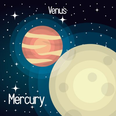 Wall mural astronomy mercury system solar planets isolated vector illustration eps 10