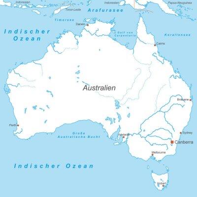 Wall mural Australien in Weiß (beschriftet) - Vektor