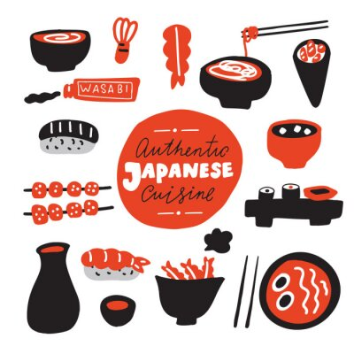 Wall mural Authentic japanese cuisine.Hand drawn food. Doodles. Made in vector.