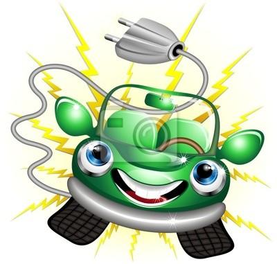 Auto Elettrica Ecologica Cartoon-Electric Car-Vector