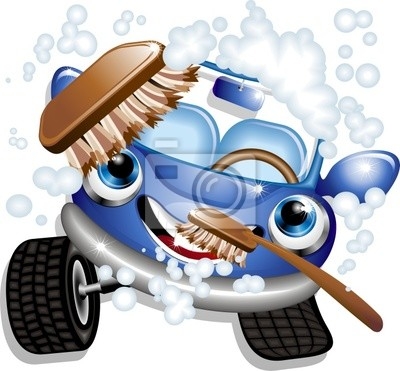 Wall mural Auto Lavaggio Cartoon-Car Wash-Vector
