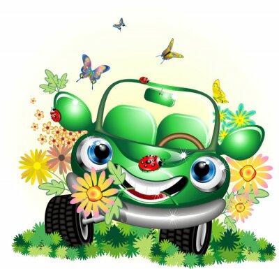 Auto Verde Ecologica Cartoon-Ecological Green Car-Vector