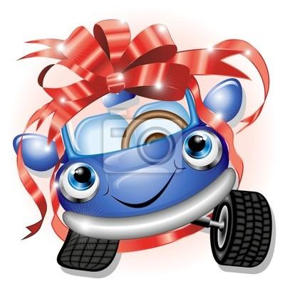 Automobile Cartoon con Fiocco-Cartoon Car Gift