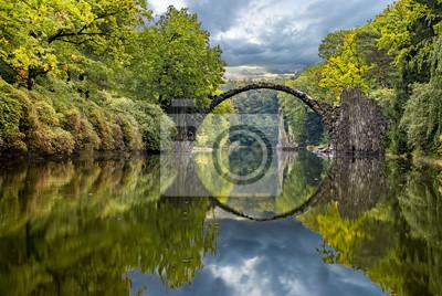 autumn in the park Kromlau, rhododendrons valley, Devil's bridge