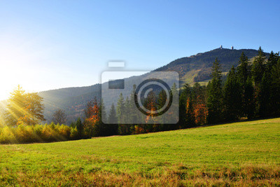 Autumn landscape in Bavarian Forest National Park. View of the mountain peak Grosser Arber, Germany, Europe.