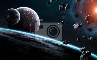 Awesome beautiful planets somewhere in deep space. Elements of this image furnished by NASA